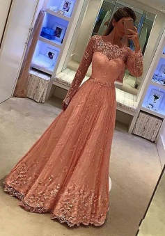 A-Line Scalloped-Edge Long Sleeves Peach Lace Prom Dress with Appliques