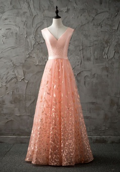 A-Line V-Neck Floor-Length Peach Lace Prom Dress with Beading