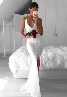 Mermaid Spaghetti Straps Backless White Lace Prom Dress with Split