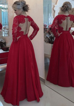 Sexy V-neck lace beading bowknot watermelon red long-sleeves floor--length prom dress