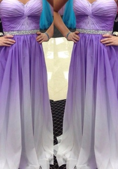 Hot-selling A-line Sweetheart Ruched Floor Length Chiffon Beaded Prom Dress