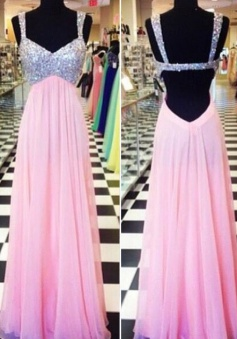Fashion A-line Sweetheart Backless Floor-length Chiffon Sequin Prom Dress