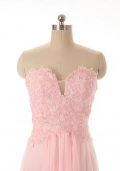 Simple Dress Elegant A-line Sweetheart Floor Length Backless Chiffon Appliques Sequins Prom Dress CHPD-7361