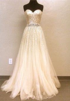 Elegant A-line Sweetheart Floor Length Tulle Sequin Prom Dress