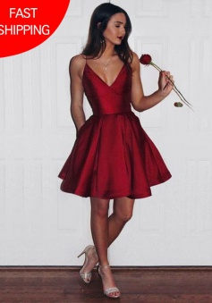 A-Line Spaghetti Straps Short Dark Red Satin Homecoming Dress with Pockets