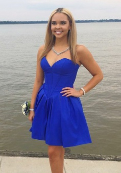 A-Line Sweetheart Short Dropped Royal Blue Satin Homecoming Dress