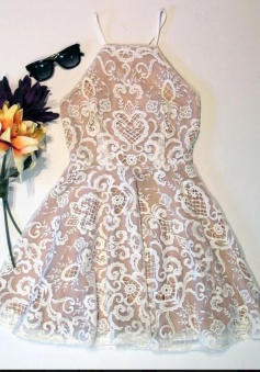 A-Line Square Criss-Cross Straps Short Champagne Lace Homecoming Dress