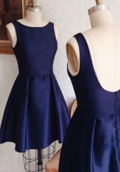 A-Line Bateau Short Dark Blue Satin Homecoming Dress with Sash