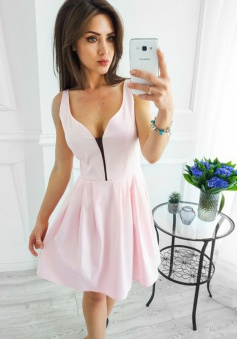 A-Line V-Neck Short Pearl Pink Elastic Satin Homecoming Dress