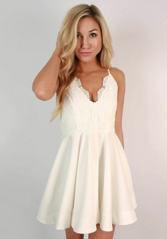 A-Line Spaghetti Straps Ivory Chiffon Short Homecoming Dress with Lace
