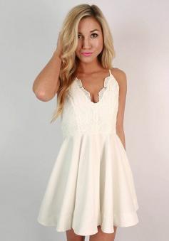 A-Line Spaghetti Straps Ivory Chiffon Short Homecoming Dress with Lace