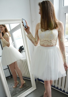 Two Piece Bateau Short White Tulle Homecoming Dress with Appliques Sleeves