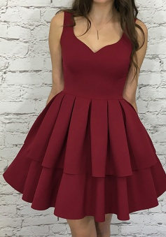 A-Line Scoop Short Burgundy Tiered Elastic Satin Homecoming Dress