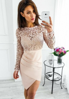 Sheath Bateau Long Sleeves Pearl Pink Satin Homecoming Dress with Lace