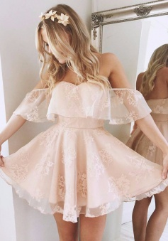 A-Line Off-the-Shoulder Short Pearl Pink Lace Homecoming Dress with Ruffle
