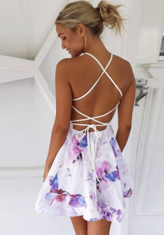 A-Line V-Neck Lace-up Short Floral Polyester Homecoming Dress