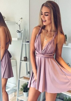 A-Line Deep V-Neck Short Blush Elastic Satin Convertible Style Homecoming Dress