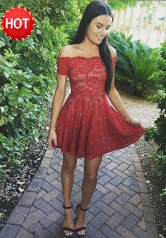 A-Line Off-the-Shoulder Short Red Lace Homecoming Dress