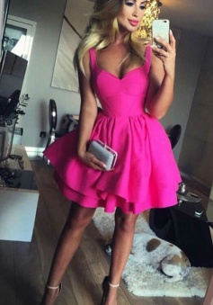 Ball Gown Scoop Eyelet Lace-up Fuchsia Short Satin Homecoming Dress