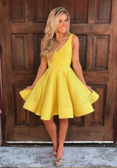 A-Line V-Neck Short Yellow Satin Homecoming Dress with Pockets