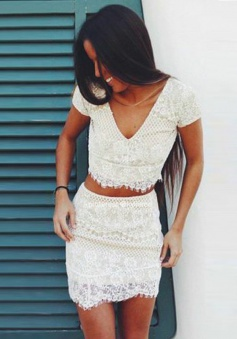 Two Piece Sheath V-Neck Cap Sleeves Short White Lace Homecoming Dress