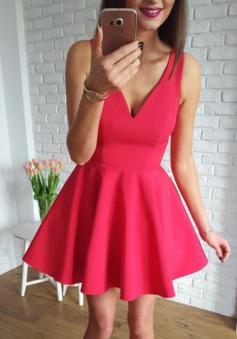 A-Line V-Neck Sleeveless Short Scarlet Satin Homecoming Dress