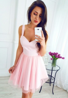 A-Line Scoop Sleeveless Short Pink Tulle Homecoming Dress