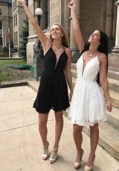 A-Line Halter Backless Short White/Black Chiffon Homecoming Dress