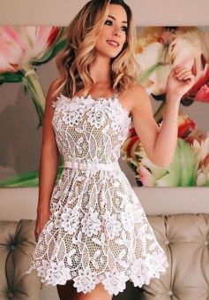 A-Line Straps Short White Lace Homecoming Dress with Beading