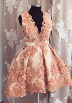 Ball Gown High Low V-Neck Blush Tulle Homecoming Dress with Flowers Beading