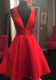 A-Line V-Neck Open Back Short Red Satin Homecoming Dress with Bowknot