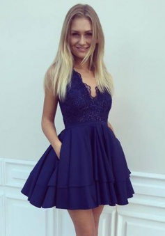 A-Line V-Neck Short Navy Blue Satin Homecoming Dress with Lace Sequins Pockets