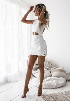 Sheath Bateau Cap Sleeves Short Cut Out Lace Homecoming Dress