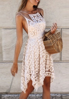 A-Line Spaghetti Straps Asymmetrical Ivory Lace Homecoming Dress