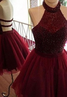 A-Line Halter Backless Burgundy Tulle Homecoming Dress with Beading