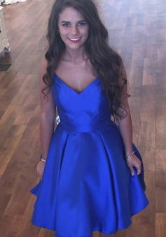 A-Line Spaghetti Straps Short Royal Blue Satin Homecoming Dress with Pockets