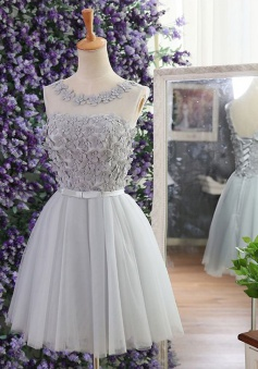 A-Line Bateau Short Grey Tulle Homecoming Dress with Beading Appliques