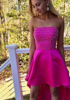 High Low Strapless Fuchsia Satin Homecoming Dress with Beading