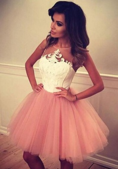 Ball Gown Jewel Short Pink Tulle Homecoming Dress with Appliques