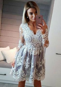 A-Line V-Neck Long Sleeves Light Grey Tulle Homecoming Dress with Appliques