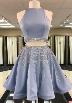 Two Piece Round Neck Short Light Sky Blue Beaded Satin Homecoming Dress