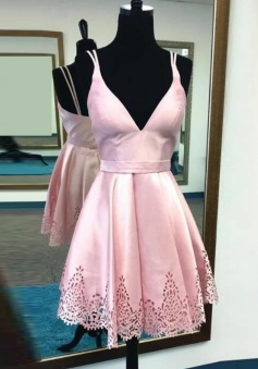 A-Line V-Neck Short Pink Satin Homecoming Dress with Hollow