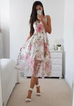 A-Line V-Neck Mid-Calf Floral Organza Homecoming Prom Dress