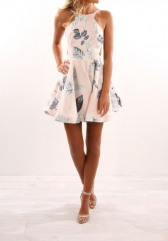 A-Line Bateau Backless Pearl Pink Floral Satin Homecoming Dress