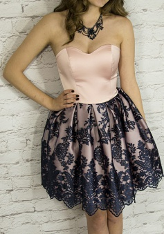 A-Line Sweetheart Short Blush Satin Homecoming Dress with Appliques