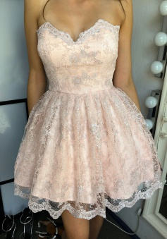 A-Line Sweetheart Short Pearl Pink Lace Homecoming Dress
