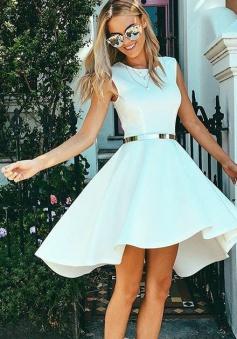 High Low Bateau Sleeveless White Satin Homecoming Dress