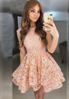 A-Line Round Neck Short Pearl Pink Tiered Lace Homecoming Dress