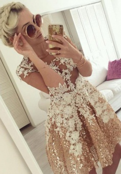 A-Line Illusion Top Short Gold Sequined Homecoming Dress with Appliques