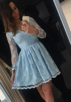 A-Line V-Neck 3/4 Sleeves Short Blue Lace Homecoming Dress
